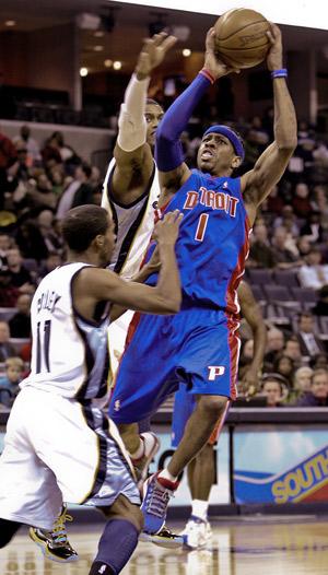 Detroit Piston Allen Iverson shoots during a game against the Memphis Grizzlies