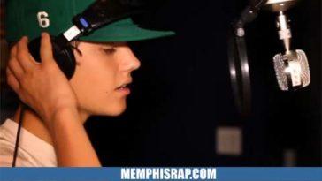 Photo of Justin Bieber in recording studio doing song Boyfriend
