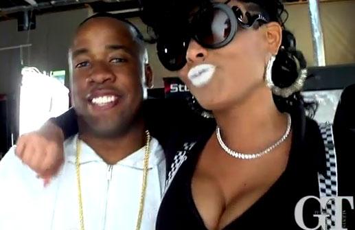 Photo of Yo Gotti with Keyshia Kaoir at Got Dat Sack video shoot