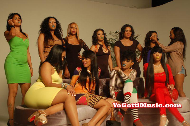 Photo of hip hop video models behind the scenes at Yo Gotti I Got Dat Sack video shoot