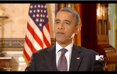 Photo of Barack Obama on MTV talking Hip Hop