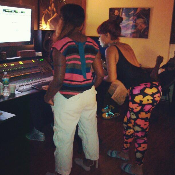 Photo of Gangsta Boo working  in the Studio