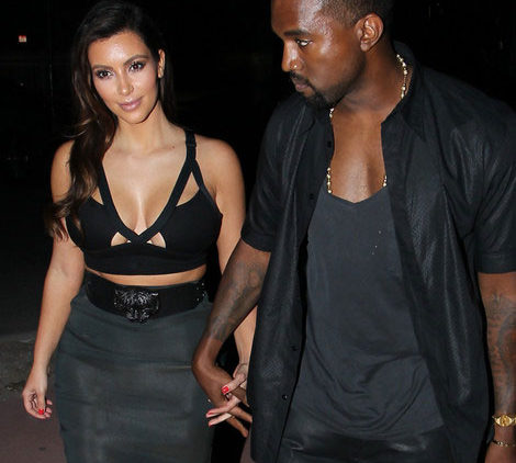 Picture of Kanye West, Kim Kardashian in see through skirt