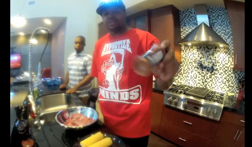 DJ Paul Of Three 6 Mafia Cooks BBQ Grilled Pork Chops & Corn On The Cob With Loco