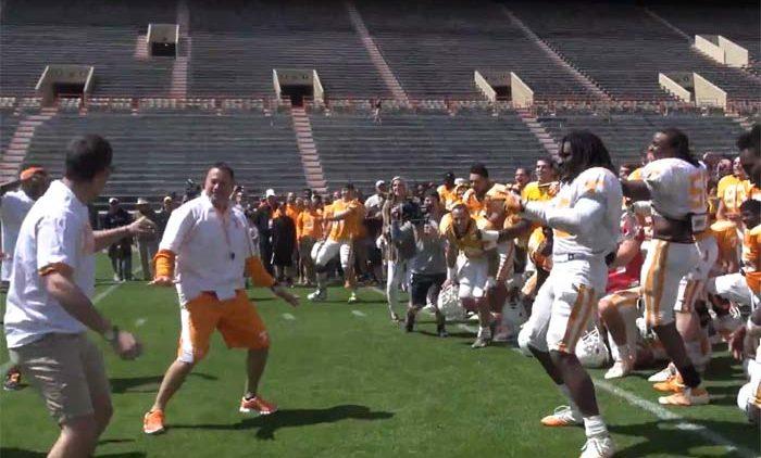 Butch Jones dancing at Tennessee Vols Football Practice