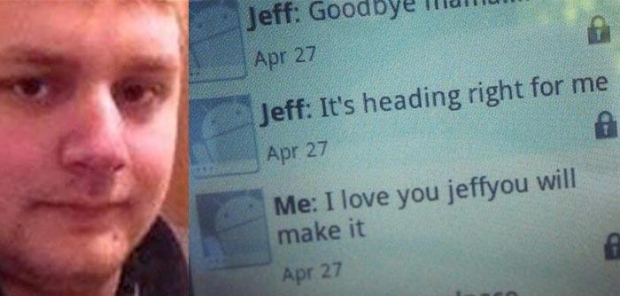Jeffrey Hunter last text Goodbye Mama during Arkansas tornado