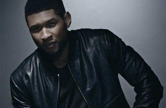 Usher black leather jacket photo