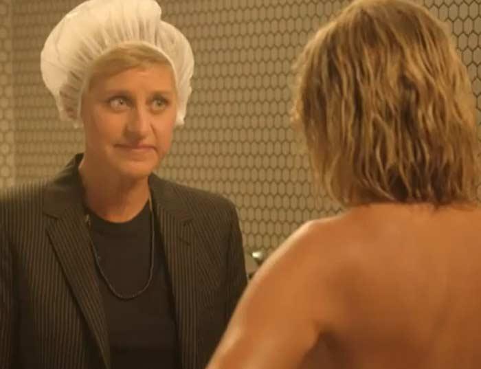 Ellen DeGeneres and Chelsea Handler shower fight