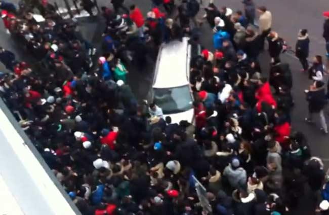 teen mob attack car