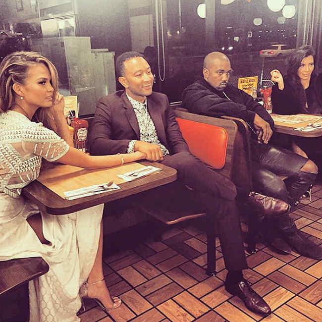 Kanye West, Kim, John Legend, Chrissy Waffle House