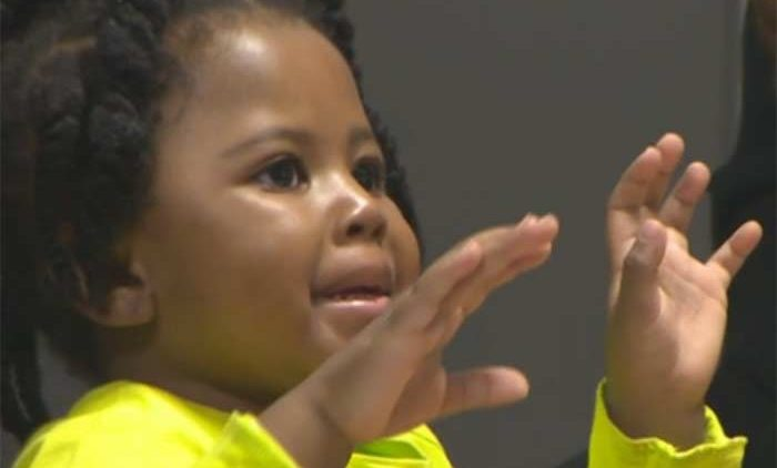 3 yr old toddler hears mothers voice for 1st time